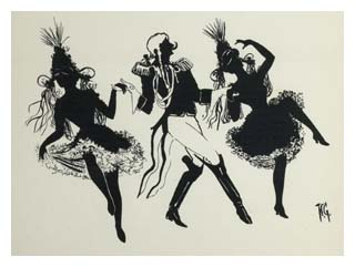 Souvenir silhouette print from stage play: The Orchid. Image © The Bill Douglas Cinema Museum