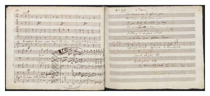 Manuscript score of music composed for performers at Vauxhall Gardens. Image © Lambeth Archives