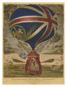 Balloon with the British flag, from Sarah Banks' scrapbook. Image © The British Library