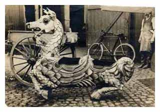 Elaborate carved creature from a fairground ride. Image © The National Fairground Archive, University of Sheffield